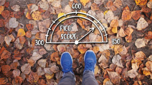 Feet with scale showing FICO score